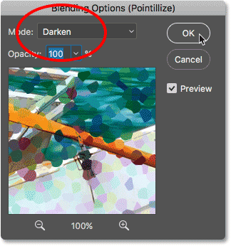 Changing the Pointillize filter's blend mode to Darken