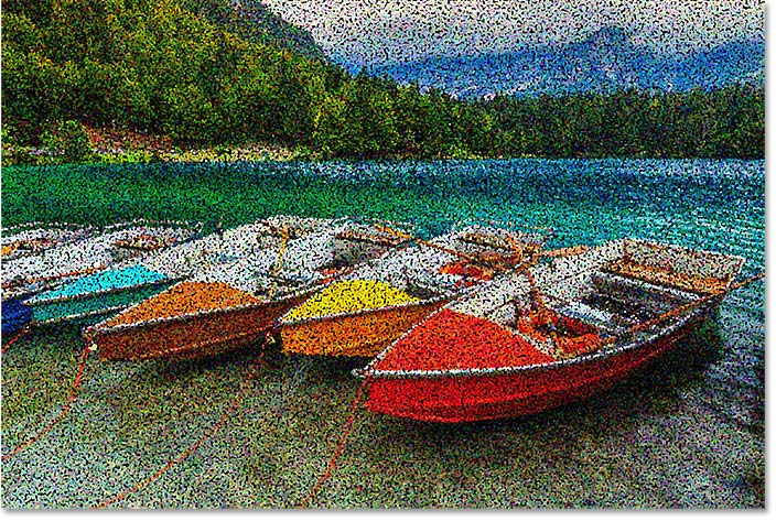 More color dots have been added to the Pointillism effect in Photoshop.