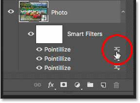 Double-clicking the Blending Options icon for the third Pointillize Smart Filter