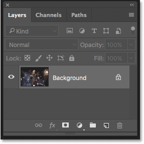 The Layers panel in Photoshop CC showing the Background layer.