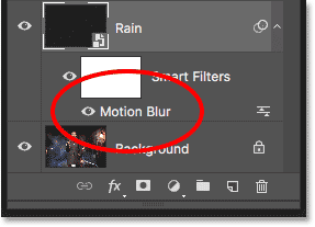 The Layers panel showing the Motion Blur Smart Filter.