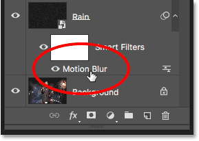 Double-clicking the Motion Blur Smart Filter.