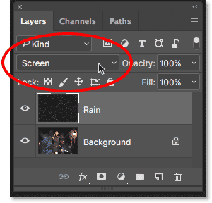 Changing the layer blend mode from Normal to Screen.