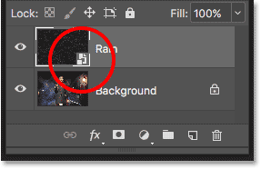 The Smart Object icon in the preview thumbnail.