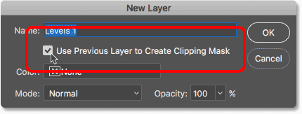 Selecting the Use Previous Layer to Create Clipping Mask option in the New Layer dialog box.