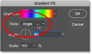The Style option in the Gradient Fill dialog box.
