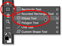 Selecting the Ellipse Tool from behind the Rectangle Tool.