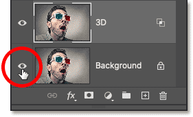 Turning off the Background layer by clicking its visibility icon