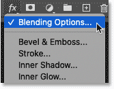 Choosing Blending Options from the layer effects menu in Photoshop's Layers panel