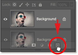 Dragging the Background layer onto the New Layer icon in Photoshop's Layers panel