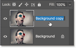 Double-clicking on the layer's name to change it