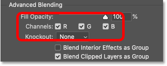 The R, G and B channel checkboxes in Photoshop's Blending Options dialog box