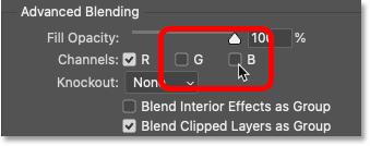 Turning off the Green and Blue color channels