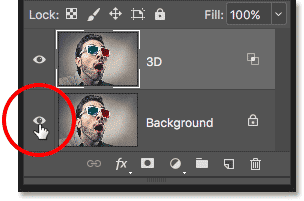 Clicking the visibility icon for the Background layer