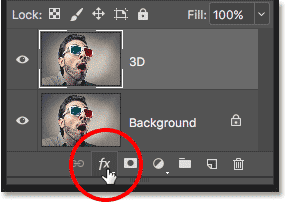 The Layer Styles icon in the Layers panel