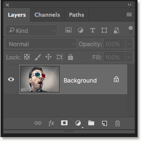 The Layers panel in Photoshop showing the original image