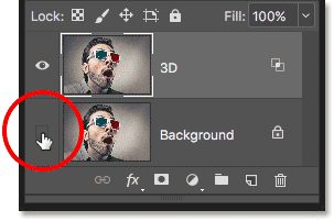 Clicking the empty box to turn on the Background layer