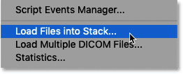 Selecting the Load Files into Stack command in Photoshop
