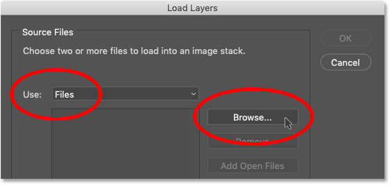 The Load Layers dialog box in Photoshop
