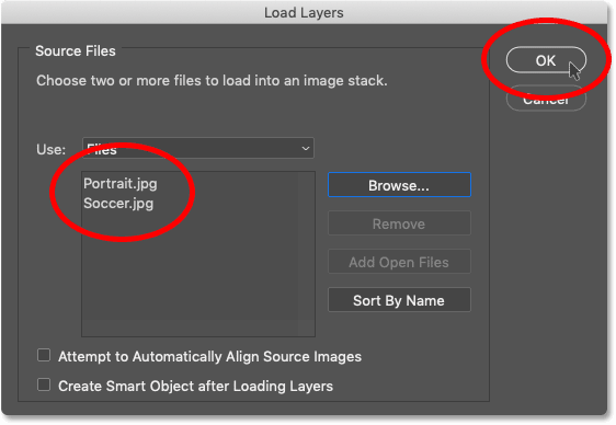 Loading the two images into Photoshop using the Load Files into Stack command