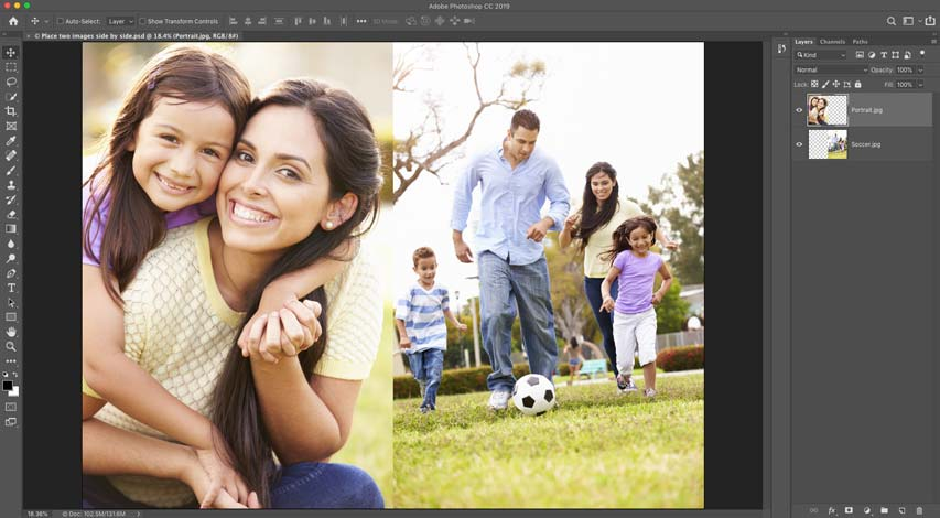 How to place two images side by side in Photoshop