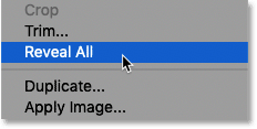 Selecting the Reveal All command in Photoshop