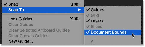 Making sure the Snap To Document Bounds option in Photoshop is turned on