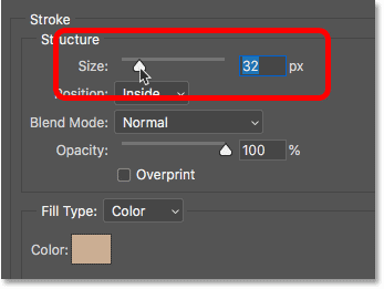 How to adjust the size of the stroke around the image in Photoshop