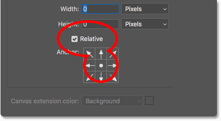 The Relative Option and Anchor Grid in Photoshop's Canvas Size dialog box