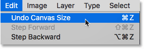 Choosing the Undo Canvas Size command in Photoshop