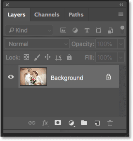 Photoshop Layers panel showing the photo on the Background layer