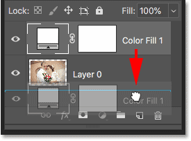 Moving the Solid Color fill layer below the image on Layer 0