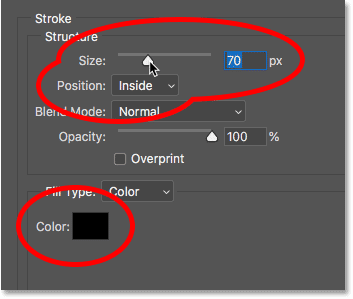 The Stroke layer effect options in Photoshop