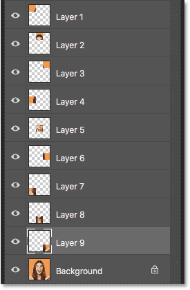 The Layers panel showing all nine squares selected and copied in Photoshop