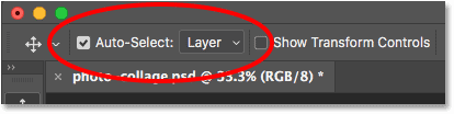 The Auto-Select option for the Move Tool in Photoshop