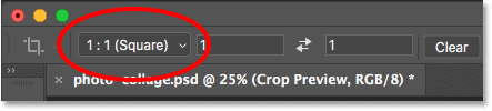Setting the aspect ratio for the Crop Tool to Square in Photoshop