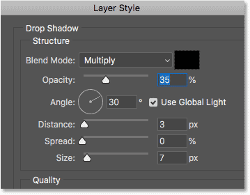 The Drop Shadow options in the Layer Style dialog box in Photoshop