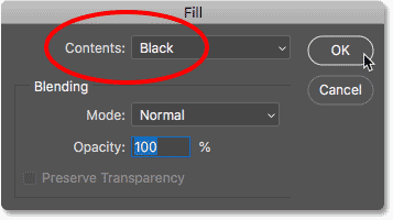 Settings Contents to Black in the Fill dialog box in Photoshop