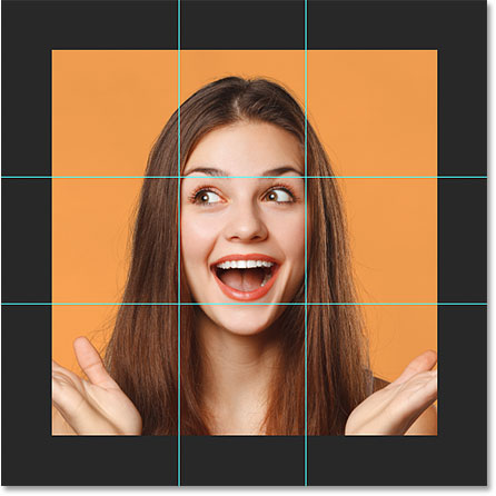 The four guides dividing the image into squares in Photoshop.