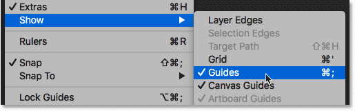 Turning off the guides in the Photoshop document