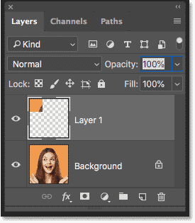 The Layers panel showing the square copied to its own layer in Photoshop