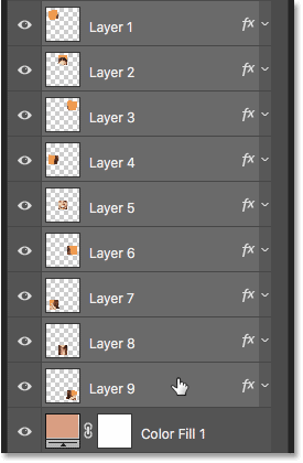Selecting all the layers that make up the squares in the photo collage