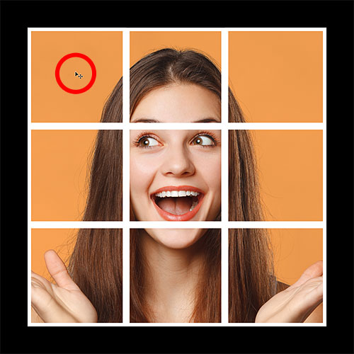 Selecting the upper left square in the photo collage in Photoshop