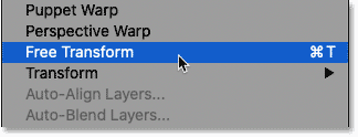 Selecting the Free Transform command from the Edit menu