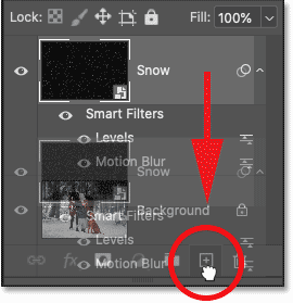 Dragging the Snow smart object onto the Add New Layer icon