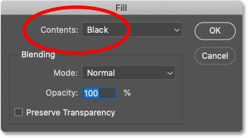 Setting the Contents to Black in Photoshop's Fill dialog box.