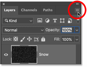Clicking the menu icon in Photoshop's Layers panel