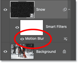 Photoshop's Layers panel showing the Motion Blur smart filter