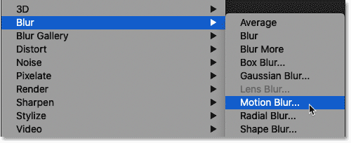 Selecting the Motion Blur filter from Photoshop's Filter menu