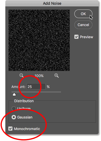 Selecting the Add Noise filter in Photoshop.